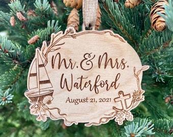 Ocean Wedding Mr. & Mrs. Christmas Ornament | Ocean Theme Wedding | Wedding Shower Gift Tag | Nautical Theme Wedding Shower | 2021 ornament