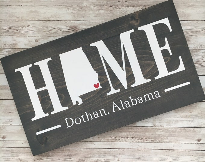 Alabama (AL) Home State wood sign   2 sizes available  Customized with Alabama town name   Alabama Home Decor
