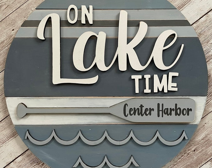 """Center Harbor New Hampshire On Lake Time 3D Wood Sign 