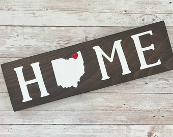 """Ohio Home Wood Sign 