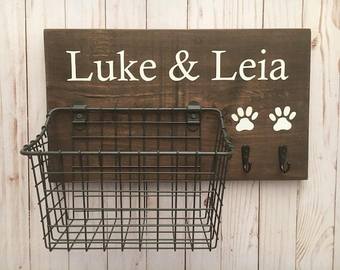 Dog Leash Hook and Basket Sign Combo | Custom Dog Name sign with attached basket and leash hooks | Pet Organizer | Dog Mom Gift