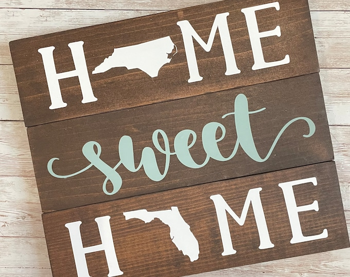 North Carolina to Florida State Sign | Two State Home Sign | New Home Gift idea | Housewarming Gift Idea | 2 State Sign | Moving away gift