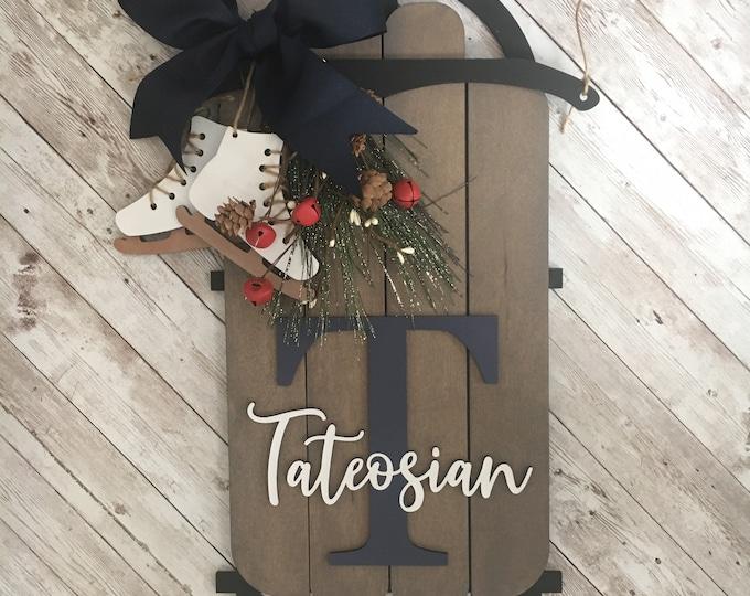 Wood Sled Door Hanger | Winter Front Door Sign | Sled Door Hanger With Last Name & Initial