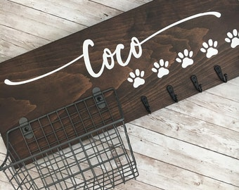 Personalized Dog Hook and Basket Organizer Combo | Custom Dog Name sign with a basket and leash hooks | Pet Leash Organizer | New Pet Gift