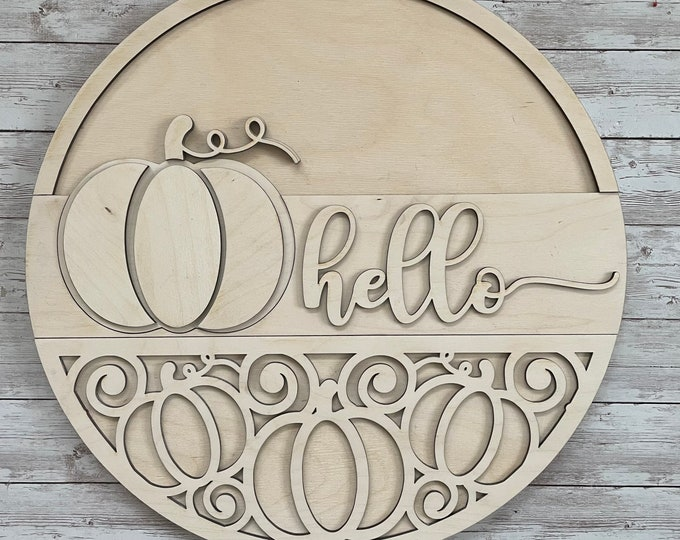DIY Hello Pumpkin Paint Your Own Sign Kit   Fall Pumpkin Sign    DIY Fall project idea   Gift for New Home