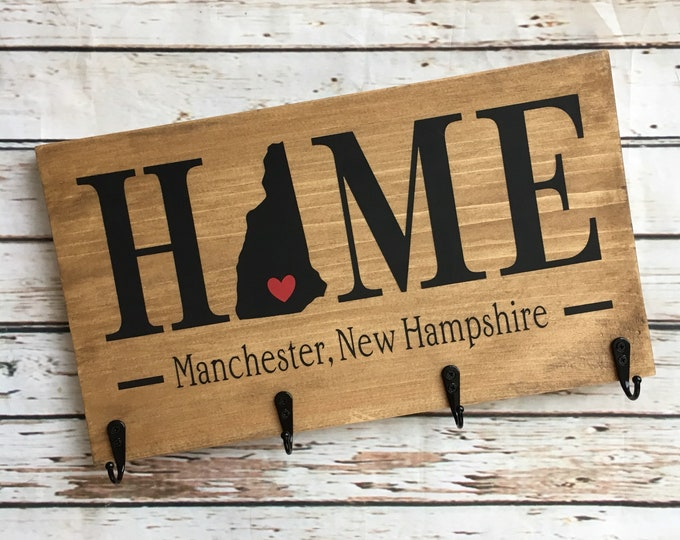 State Coat Hook HOME sign with town name and Hanging Hooks   State Home Sign   Coat Hook Sign