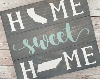 California to Tennessee Home Sweet Home Wood Sign | Two States or Heart Home Sign | New Home Gift idea | Housewarming Gift Idea