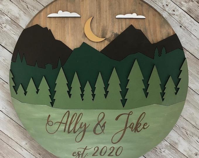 "16"" Round Mountain 3D Wood Sign | Custom Mountain Theme Wood Circle Sign | Country Home Decor | Outdoor Wedding | Mountain Lodge Decor"