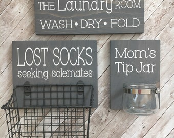 Laundry Room Sign Trio |  Lost Socks Basket AND Mom's Tip Jar AND The Laundry Room Sign | Laundry Room Decor | Color Pop Series