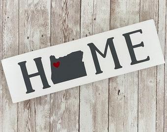 "Oregon Home Wood Sign | Housewarming Gift | Gallery Wall Decor | 3.5"" x 12"" Sign | Realtor Gift Ideas"