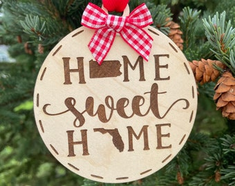 Pennsylvania to Florida Home Sweet Home Wood Ornament | State to State Home | New Home Gift idea | Housewarming Gift Idea | Christmas 2021