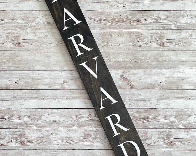 Harvard Town Name Sign |  Last Name or Town Name Sign | Custom gallery wall sign | Housewarming Gift Idea | Thin Vertical Sign
