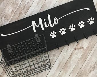 Dog Leash Hook and Basket Sign Combo | Custom Dog Name sign with attached basket and leash hooks | Pet Leash Organizer