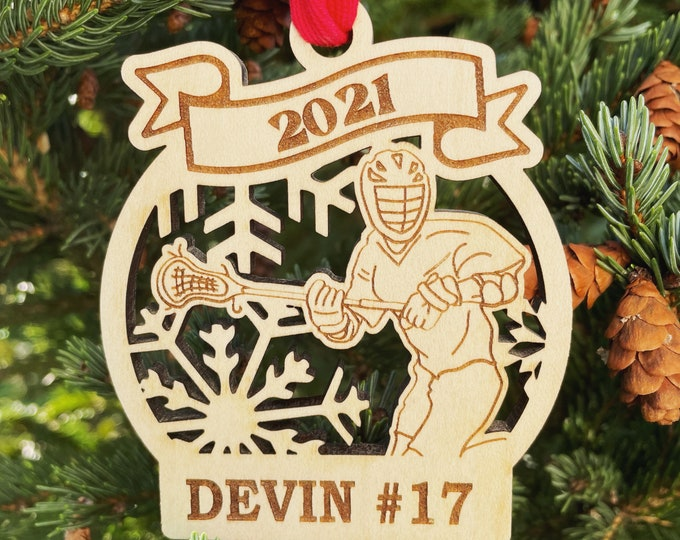 2021 SAMPLE SALE | Lacrosse Player Christmas Ornament | Personalized Lacrosse Ornament | Lacrosse Team Ornament | 2021 Christmas Ornament