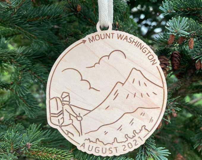 Mount Washington & Date Ornament | NH Hiker Ornament | New Hampshire Mountains | Hiking Souvenir | Hiking Gift Idea