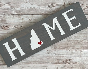 """New Hampshire Home State Wood Sign 