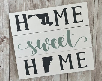 Maryland to Vermont State Sign | Two State Home Sign | New Home Gift idea | Housewarming Gift Idea | 2 State Sign | Moving away gift