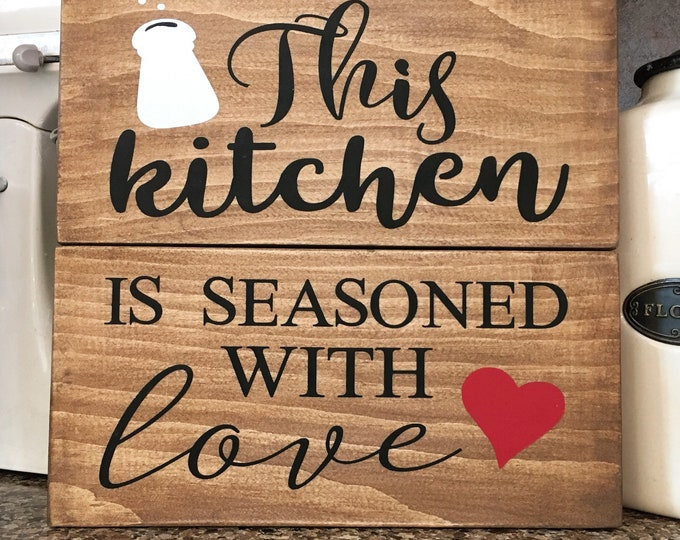 Seasoned with Love Wood Sign   Kitchen Love Sign   Country Kitchen Decor   Farmhouse Decor