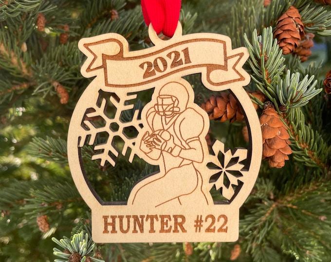 2021 SAMPLE SALE | Football Player Christmas Ornament | Personalized Football Ornament | Football Kicker Team Ornament | 2021 Christmas