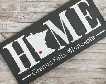 Minnesota (MN) Home wood sign customized with town name - 2 sizes available - Housewarming Gift - Minnesota New Home Gift - MN State Sign