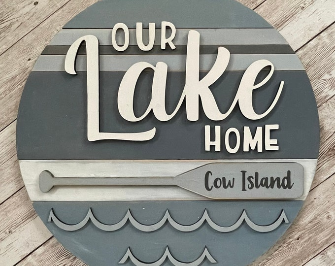 """Our Lake Home 3D Wood Sign 