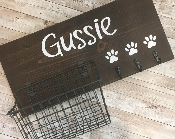 Custom Dog Leash Holder and Basket Wall Sign Combo |  Quote or Dog Name sign with basket and leash hooks | Wall Dog Leash Hooks