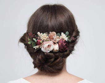 Burgundy Beige Flower Comb, Bridesmaid Floral Comb Outdoor Wedding Hair Comb Bridesmaid Headpiece Autumn Wedding Floral Accessories 1113