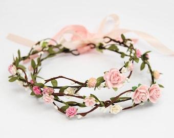 Pink Wedding Floral Crown \ Pastel Flower Tiara Bridal Flower Crown Festival Delicate Flower Head Crown Bridesmaid Crown