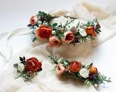Boho flower hairpiece, Burnt orange crown, Coral floral headpiece, Bridal flower crown, Fall wedding, Rustic wedding hairpiece, Orange crown