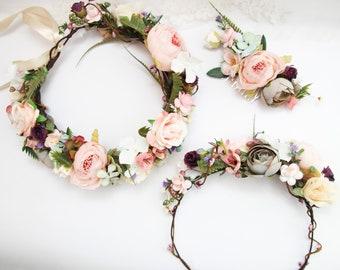 9a9585ae5 Flowers girl crown, Wedding accessories set, Blush flower crown, Bridal  floral crown, Circlet head wreath, Blush pink hair comb, Boho crown