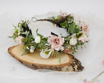 02ef11085 boho floral crown, blush flower crown, flower circlet, flower girl wreath,  pink flower crown, wedding hair crown, floral crown wedding 1177