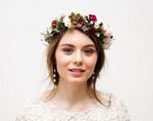 Beige Burgundy wedding flower crown, fall flower headband, bridal floral crown, rustic flower crown, bridal crown, bridesmaid heapiece