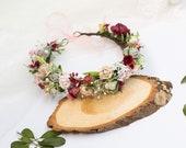 red pink beige floral crown, fall flower crown, maternity crown, bridal floral crown, floral halo, boho floral crown, floral tiara 1218