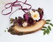 burgundy flower crown, fall wedding headpiece, eucalyptus bridesmaid crown, floral bridal headband, flower girl crown, winter wedding 1217