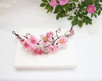 Small Wedding Crown, Boho Flower Crown, Adult Flower Crown, flowergirls headband, pink rose crown, flower head band, dusty rose crown 1168