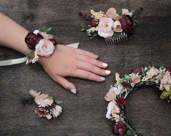 Pink Burgundy Wedding Floral Accessories, Autumn Wedding Set Bridesmaid Corsage Boutonniere Bridesmaid Headpiece Flower Girl Floral C