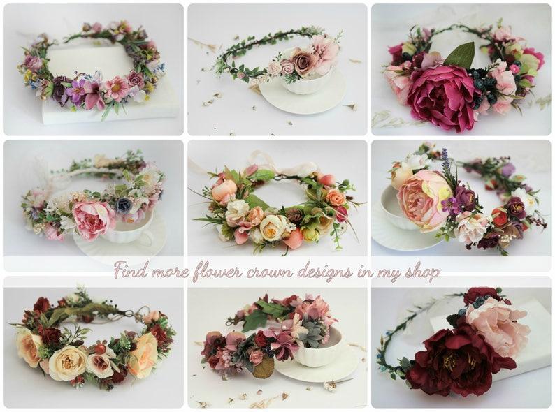 Pink Flower Crown \\Bridal Headpiece First Birthday Baby Girl Headband Elegant Spring Flower Crown Garden Wedding Bridesmaid Hair Piece