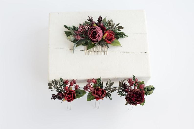 Burgundy floral comb Bridesmaid headpiece Boho flower comb Wedding accessories set Flower comb Burgundy floral clip Floral hair pins