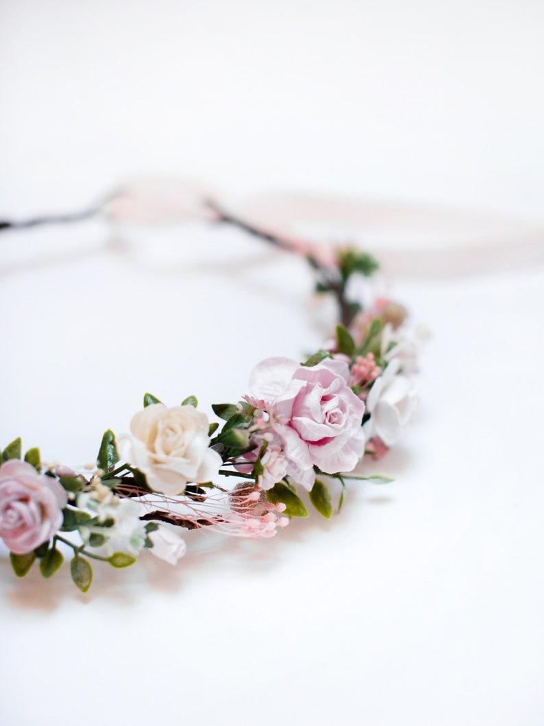 Pink flower hairpiece Bridesmaid headpiece Flower girl crown Blush hairpiece Bridal flower crown Boho floral crown Wedding headpiece