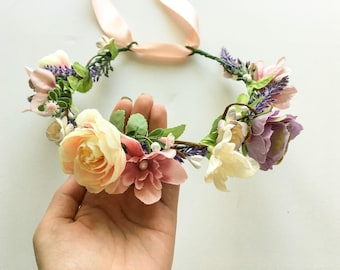 Bridal Flower Crown Spring Floral Crown Pastel Hair Wreath Flower Girl Headband Wedding Flower Crown Adult Summer Wedding