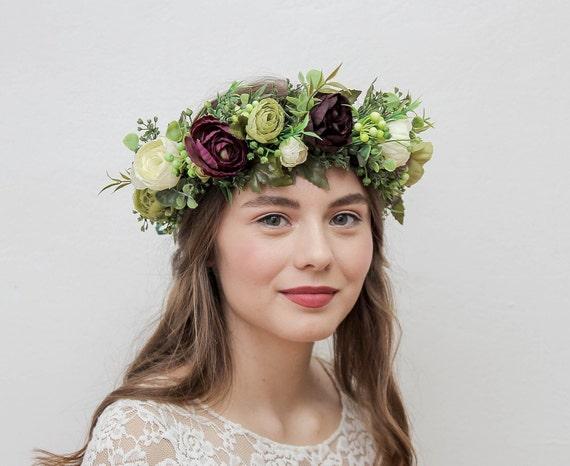 Green flower crown wedding floral crown wedding headband bridal flower crown adult flower girl crown flower hair wreath leaf crown headpiece