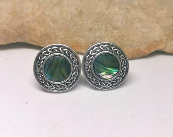 14mm Celtic knot Paua Shell stud earrings