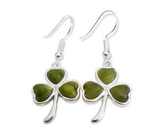 Connemara Marble heart shamrock earrings