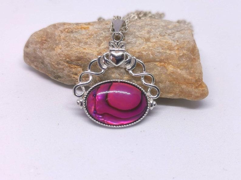Fushia pink abalone Claddagh Pendant