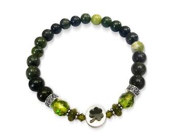 Connemara Marble & Czech Glass Shamrock bead Bracelet