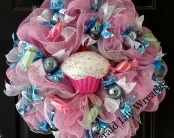 Birthday Wreath - Baby Shower Wreath - Pink Wreath - Cupcake Wreath - Christmas Wreath - Candy Wreath - Pink Christmas Wreath