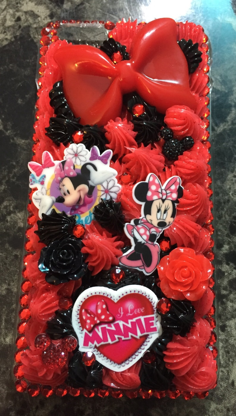 check out 4748b 9416e Red and Black Whip Decoden Disney Minnie Mouse Phone Case for iPhone 6 Plus  / 6s Plus Case