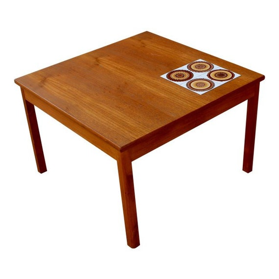 Mid Century Danish Modern Teak Coffee Table With Ceramic Tile Etsy - Coffee table with tile inlay