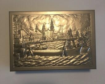 Cigar Box - Antwerp Harbour Scene