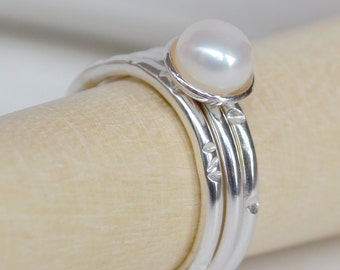 Pearl Ring. Rustic Cupped Pearl & Sterling Silver stacking ring set. Pearl Stacking Rings. Stacking Rings. Pearl Rings. Rustic Rings.